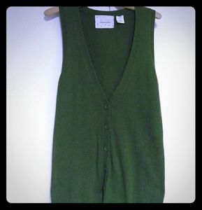 Green Cardigan Sweater Vest Long Anthropologie Med